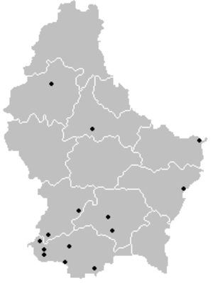 2006–07 Luxembourg National Division - Locations of participating teams across Luxembourg.
