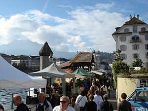 Lucerne - The crowded Rathausquai