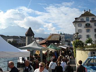 Lucerne - The crowded Rathausquai