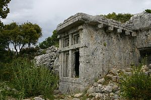 Phellus - One of the many ruined tombs at Phellus, situated in the Western Taurus Mountains.