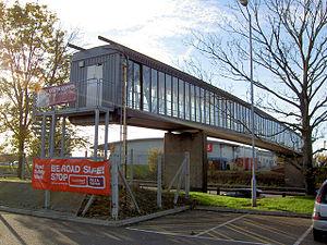 Northampton services - The now unused footbridge over the motorway