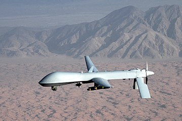 US Air Force MQ-1 Predator drone flown remotely by a pilot on the ground MQ-1 Predator unmanned aircraft.jpg