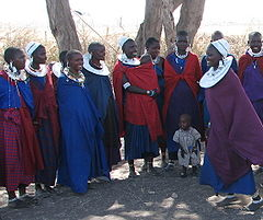 Maasai women and children (Nilo-Saharan) Maasai women and children.jpg