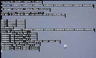 Kernel panic - Image: Mac OS X 10.0 10.1 Kernel Panic