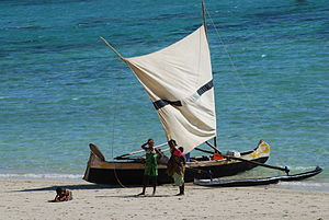 Vezo people - Traditional fishing pirogue with sail from Madagascar