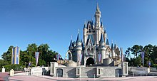 Exterior shot of Cinderella Castle at the Walt Disney World resort.