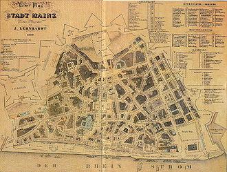 Fortress of Mainz - Image: Mainz um 1844 lehnhardt