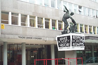 Trades Union Congress - Make Poverty History banner in front of Congress House