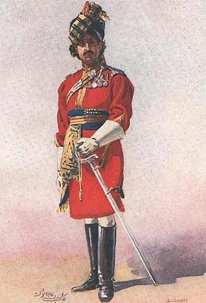 Khan (surname) - Malik Umar Hayat Khan as an Honorary Lieutenant of the 18th King George's Own Lancers, early 20th century watercolour by Major A.C. Lovett (1862–1919)