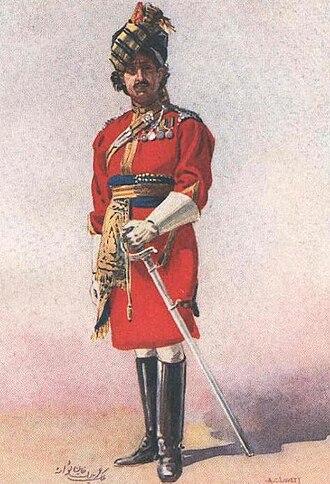Khan (surname) - Malik Umar Hayat Khan as an Honorary Lieutenant of the 18th King George's Own Lancers, early 20th century watercolour by Major A.C. Lovett (1862–1919)