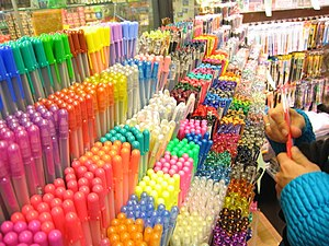 Many colored pens