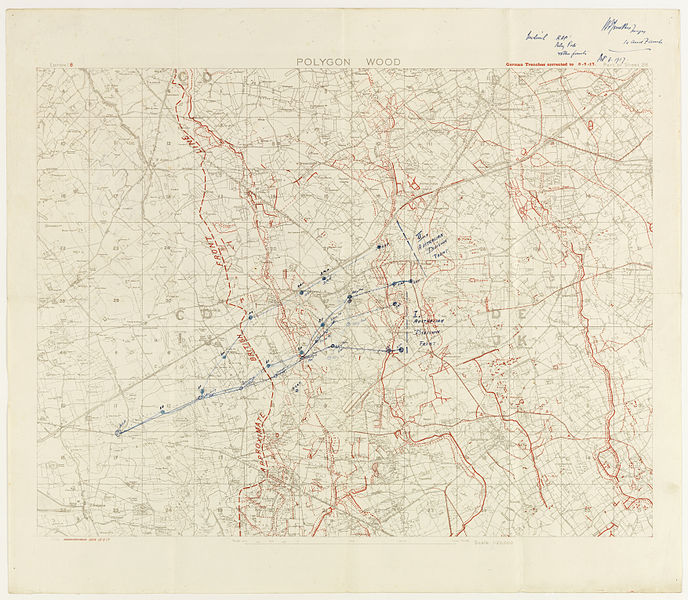 Map showing German lines as of 9 September 1917. Hand-drawn on map is the evacuation lines for wounded soldiers.  Part of - Papers relating to 5th Australian Field Ambulance Australian Imperial Force  Tasmanian Archives and Heritage Office: W.L. Crowther Library  Images from the TAHO collection that are part of The Commons have 'no known copyright restrictions', which means TAHO is unaware of any current copyright restrictions on these works. This can be because the term of copyright for these works may have expired or that the copyright was held and waived by TAHO. The material may be freely used provided TAHO is acknowledged; however TAHO does not endorse any inappropriate or derogatory use.