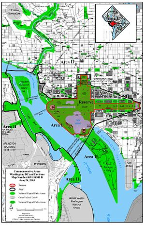 Commemorative Works Act - Map showing the Reserve (greyed out area), Area I (within black boundary) and Area II of the National Capital Area.