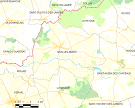 Mapa obce Sion-les-Mines