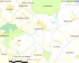 Mapa obce Landrecies