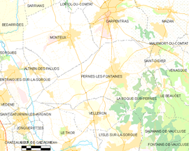 Mapa obce Pernes-les-Fontaines