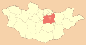 Noin-Ula burial site - Batsumber sum in Tov Province (in red) is located directly to the north of the capital Ulaanbaatar. It is the location of Noin-Ula.