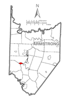 Map of Armstrong County, Pennsylvania highlighting Cadogan Township