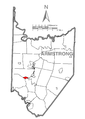 Map of Cadogan, Armstrong County, Pennsylvania Highlighted.png