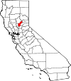 State map highlighting Yuba County