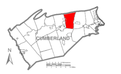 Map of Cumberland County, Pennsylvania highlighting Middlesex Township