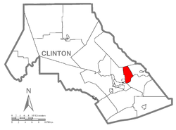Map of Clinton County, Pennsylvania highlighting Dunnstable Township