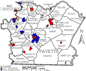Fayette County, Pennsylvania - Map of Fayette County, Pennsylvania with Municipal Labels showing Cities and Boroughs (red), Townships (white), and Census-designated places (blue).