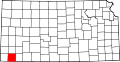 Map of Kansas highlighting Stevens County.svg