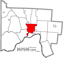 Location of Clay Township in Scioto County