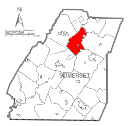 Map of Somerset County, Pennsylvania Highlighting Quemahoning Township