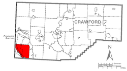 Location of South Shenango Township in Crawford County