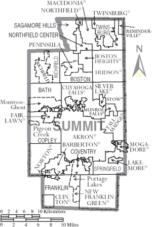 Summit County, Ohio - Map of Summit County, Ohio With Municipal and Township Labels. The map denotes New Franklin and Franklin Township as separate entities, predating their 2003 merger.