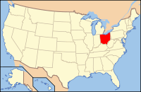 Map of the USA highlighting Ohio