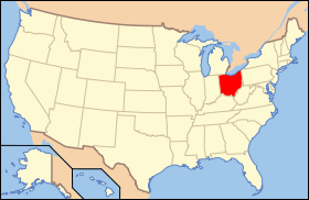 Map of the U.S. with Огайо highlighted