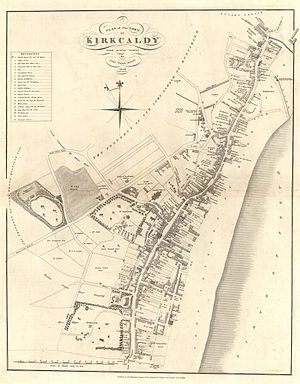 "History of Kirkcaldy - Royal Burgh of Kirkcaldy Map from 1824 displaying the length of ""the lang toun"""