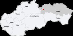 Kort af Slovakien med Vysoké Tatrys beliggenhed.