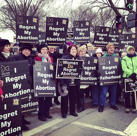 Protestors holding signs at a pro-life rally, Washington, DC