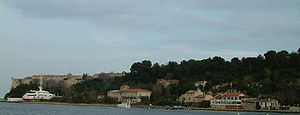 Lérins Islands - View of the Île Sainte-Marguerite, including the Fort Royal and the village of Sainte-Marguerite.