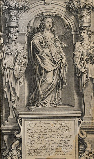 Margaret Cavendish, Duchess of Newcastle-upon-Tyne - Segment from Frontispiece for several of her books in the 1650s and 1660s.