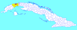 Mariel municipality (red) within Artemisa Province (yellow) and Cuba