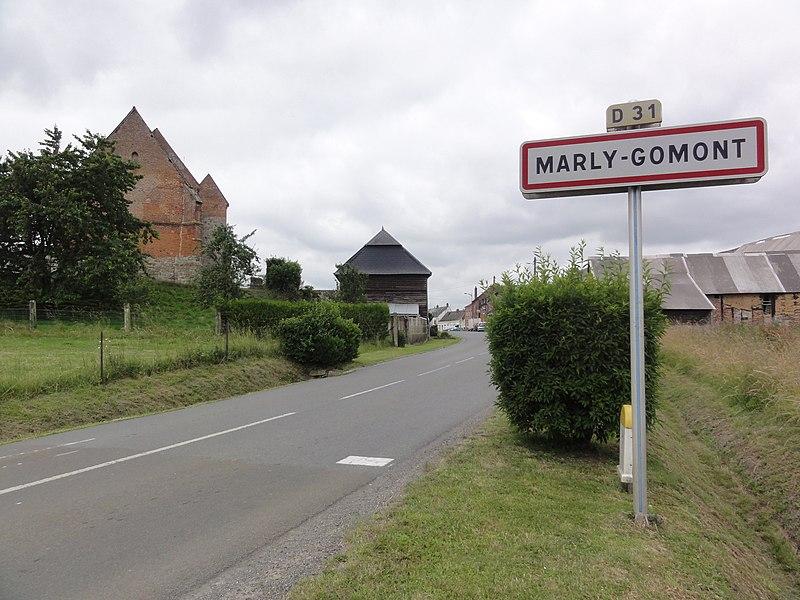 Marly-Gomont (Aisne) city limit sign