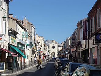 Mazargues - Rue Émile-Zola, with the Eglise Saint Roch in the background