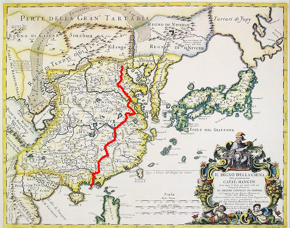 Matteo Ricci's way from Macau to Beijing
