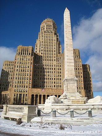 Politics and government of Buffalo, New York - Buffalo City Hall, with McKinley Monument in the foreground.