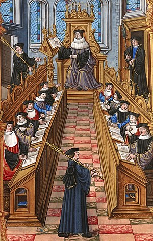 Medieval university - Illustration from a 14th-century manuscript showing a meeting of doctors at the University of Paris.