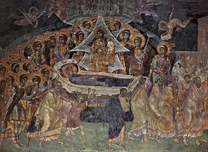 Gračanica Monastery - Dormition of the Mother of God, fresco from Gračanica, c. 1321. (See also:Palaiologian Renaissance)