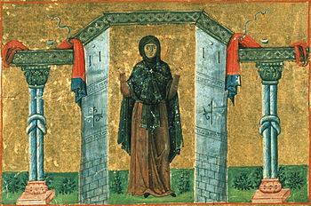 Melania the Younger, nun of Rome (Menologion of Basil II).jpg