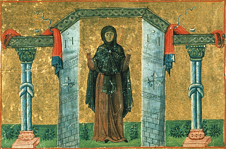 Melania the Younger, from the Menologion of Basil II Melania the Younger, nun of Rome (Menologion of Basil II).jpg