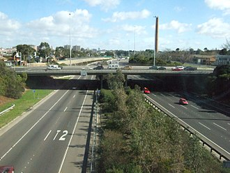 Eastern Freeway (Melbourne) - Hoddle Street, viewed from the east.