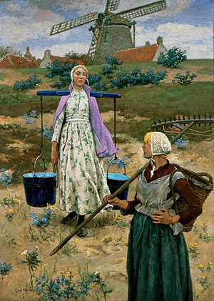 Carrying pole - A milkmaid walking with a shoulder yoke, shown with another female farmworker carrying a rake and a wicker backpack, painting by Gari Melchers
